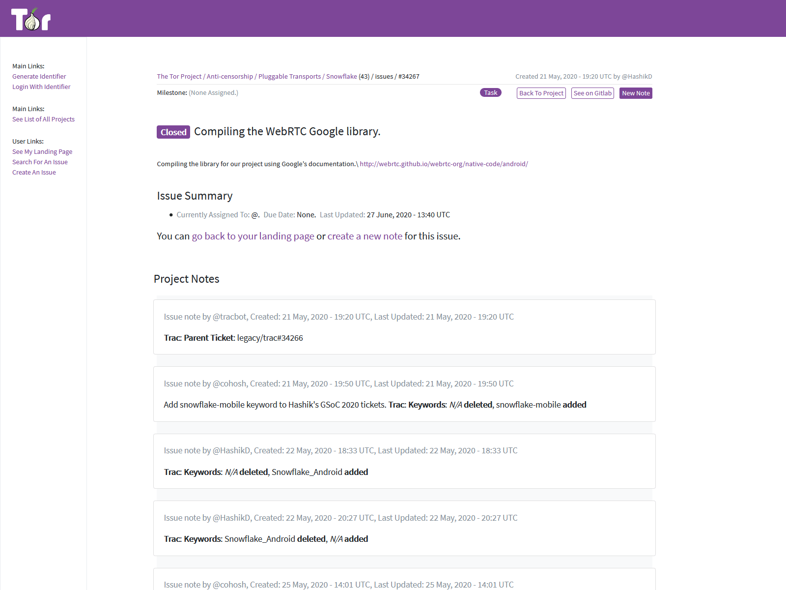 An example of a closed issue view. The top shows details about the issue from gitlab, including the namespace, issue number, assignee, milestones, labels, etc. This is followed by a detail summary and a list of project notes.