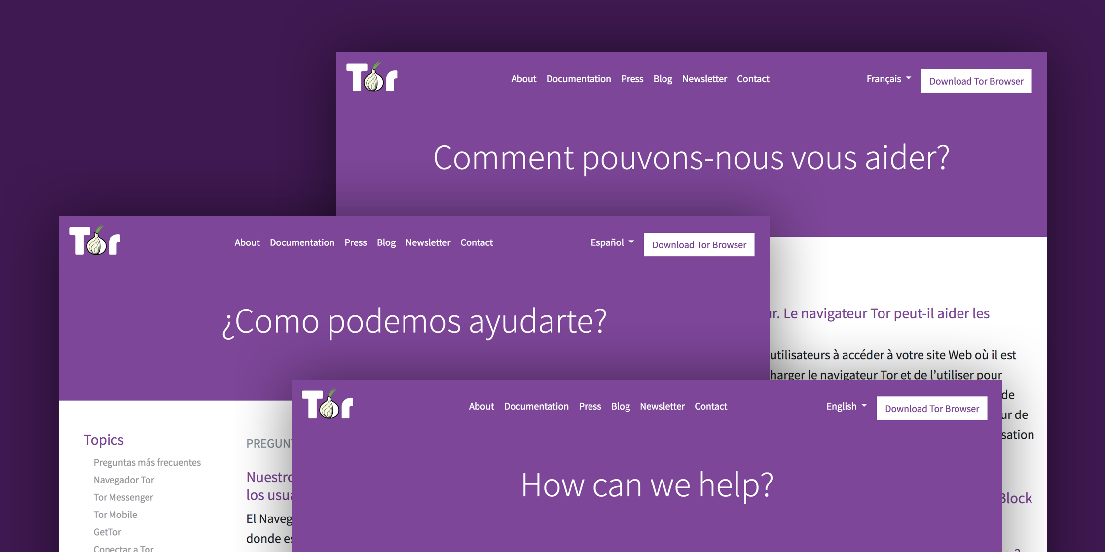Tor support website screenshots in different languages: english, french and spanish.