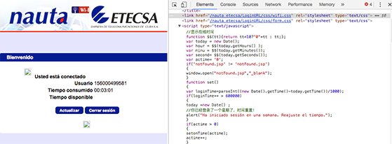 ETECSA login page containing Chinese comments in source code