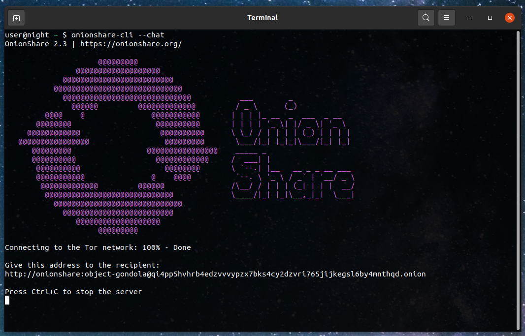 onionshare command line