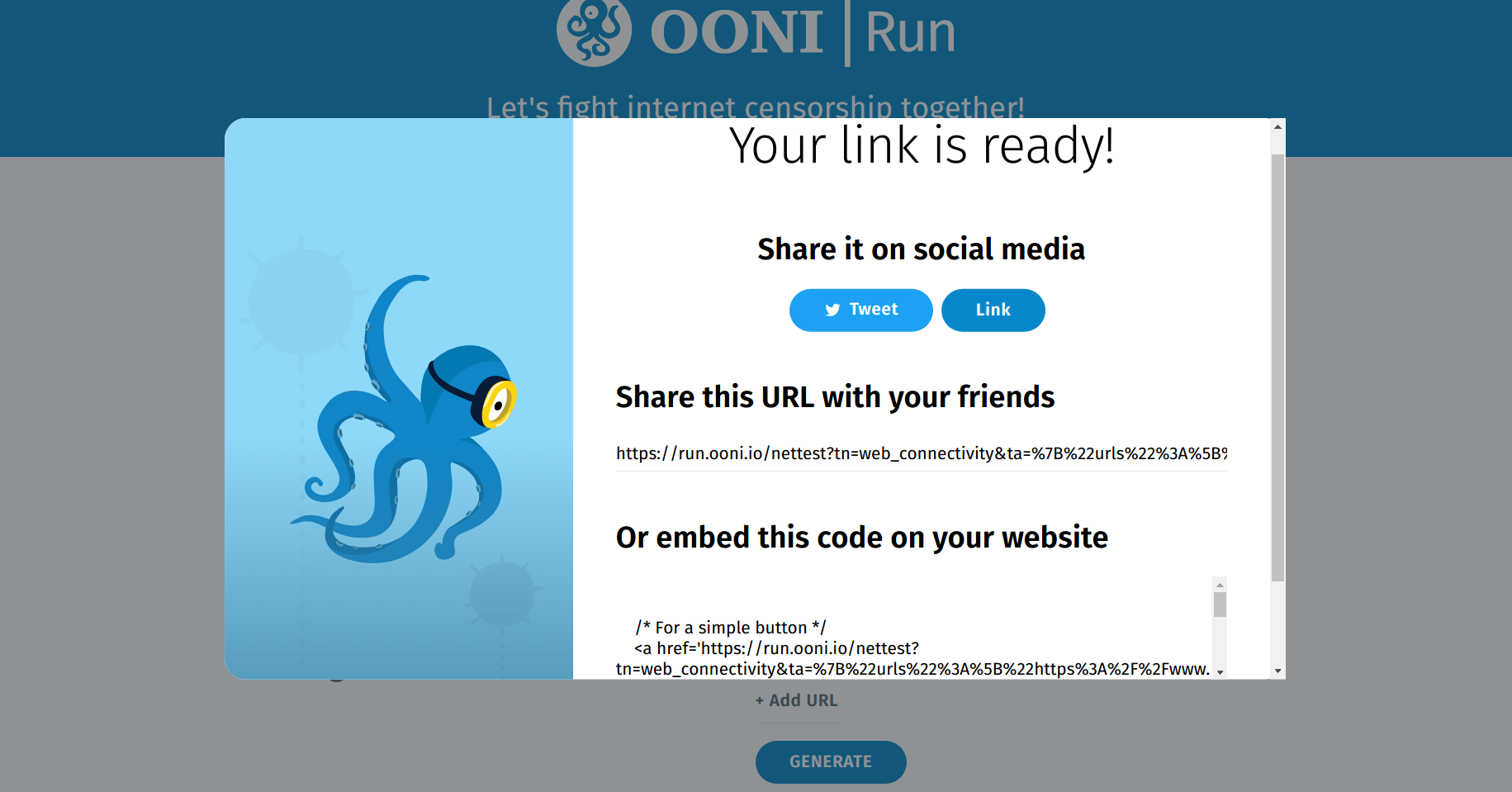 OONI Run: Links and code