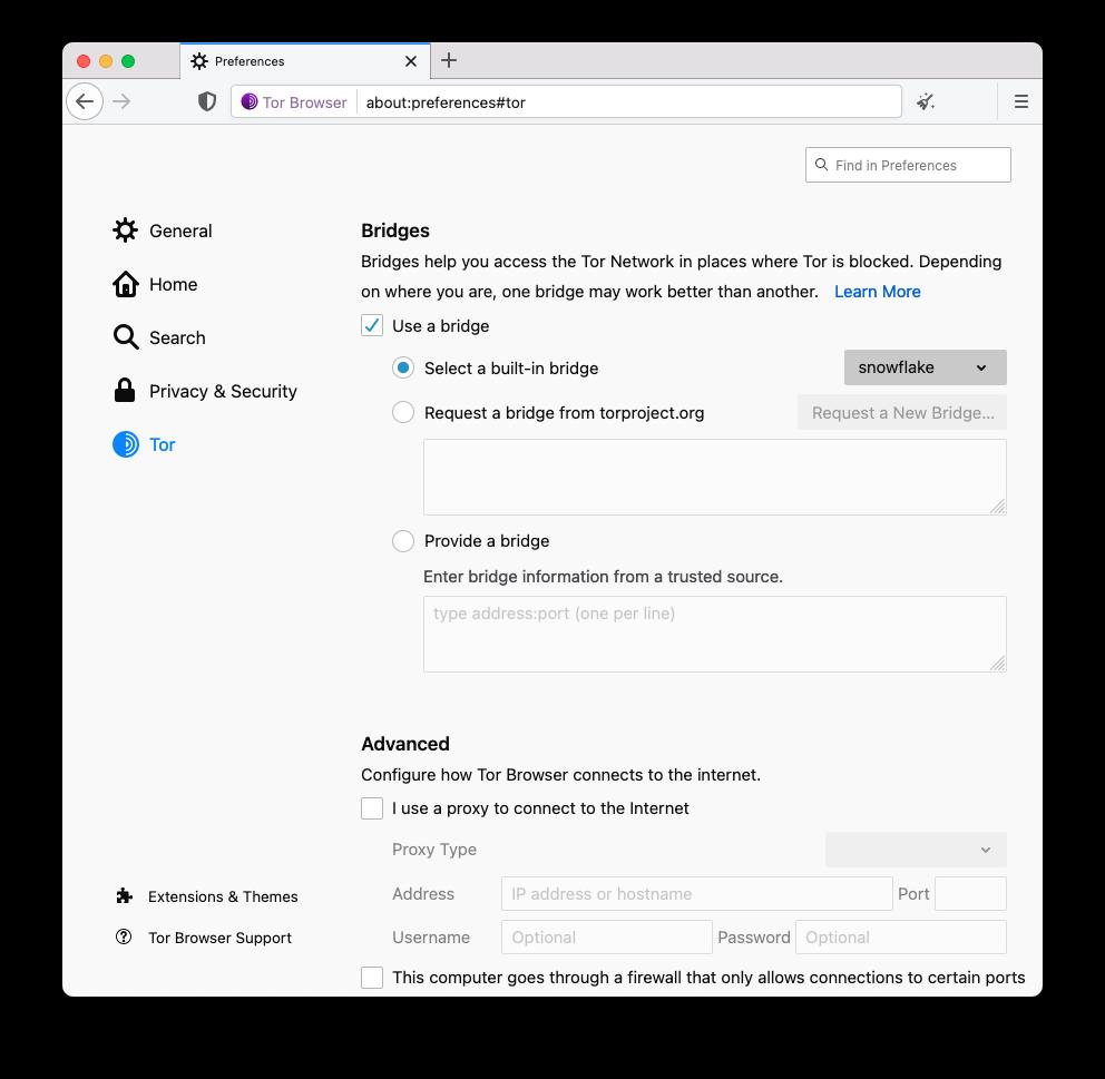 Tor Browser 10.5 Snowflake bridge